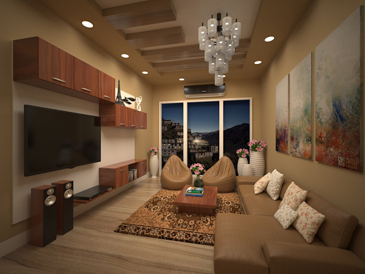 living area interior. Vinra Interiors Classic style living room MDF Wood effect