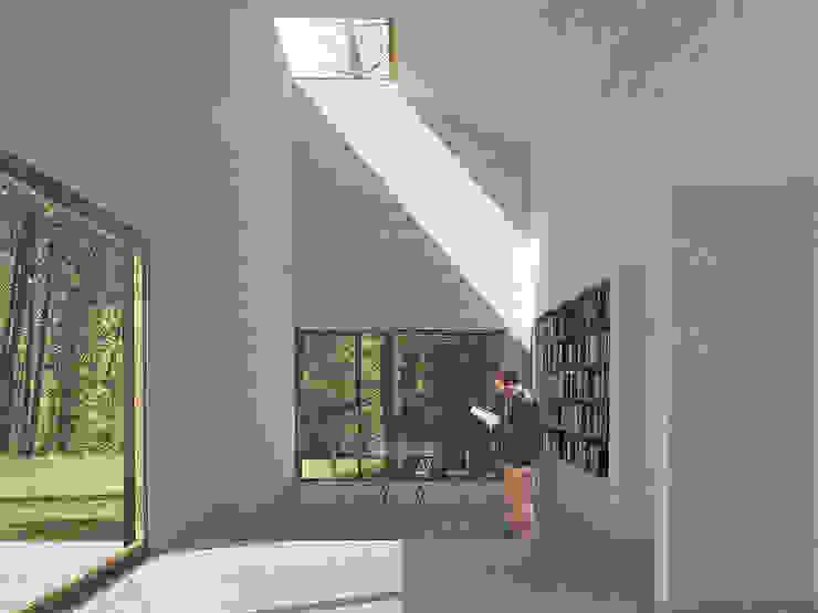 Salas modernas de mutarestudio Arquitectura Moderno