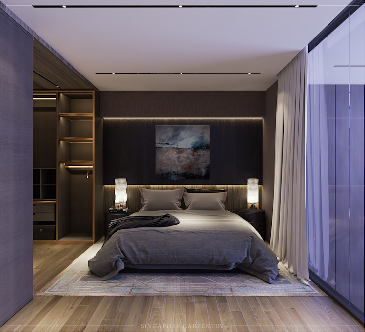 Modern Glamour at Gerald Drive Modern style bedroom by Singapore Carpentry Interior Design Pte Ltd Modern