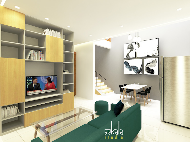 Living Room (Ruang Keluarga) Ruang Keluarga Modern Oleh SEKALA Studio Modern Batu Bata