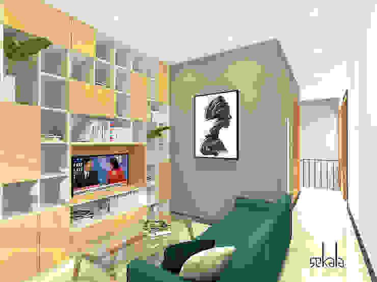 Salas modernas de SEKALA Studio Moderno Ladrillos