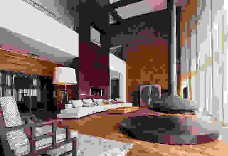 Forester house - современный загородный дом Роман Леонидов - Архитектурное бюро Гостиная в стиле минимализм
