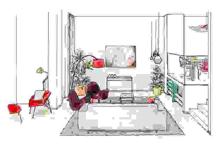 Interieurplan woonkamer in Leiden: modern  door Regina Dijkstra Design, Modern