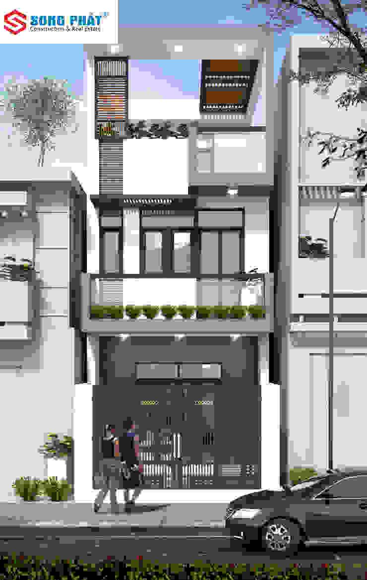 Phối cảnh mặt tiền mẫu nhà phố hiện đại. bởi Công ty TNHH TK XD Song Phát Hiện đại Than củi Multicolored