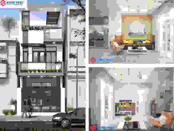 Xây dựng nhà phố 1 trệt 1 lầu sân thượng 860 triệu tại Nhà Bè. bởi Công ty TNHH TK XD Song Phát Hiện đại Đá hoa
