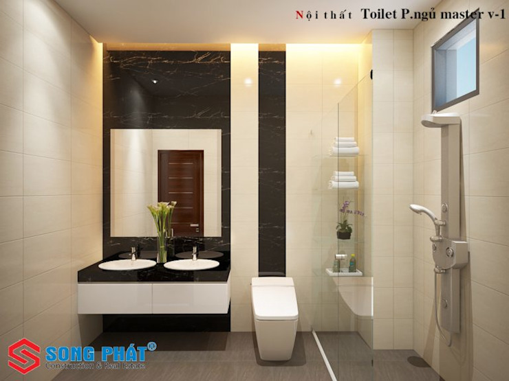 Công ty TNHH TK XD Song Phát Modern style bathrooms Solid Wood