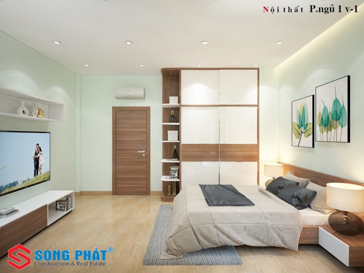 Các phòng ngủ đều có bố trí khu vực thay đồ và những món nội thất tiện nghi cho sinh hoạt hàng ngày. bởi Công ty TNHH TK XD Song Phát Hiện đại Than củi Multicolored