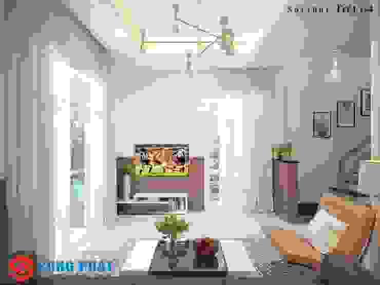 Nội thất phòng khách với xu hướng hiện đại. Khu bếp là điểm nhấn không gian của ngôi nhà với nội thất có tone màu nổi bật bởi Công ty TNHH TK XD Song Phát Hiện đại Đá hoa