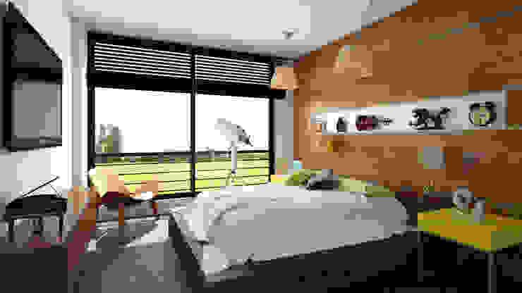 Habitación apartamento / Conjunto residencial Trapiche Houses / Ibagué - Colombia Habitaciones modernas de Taller 3M Arquitectura & Construcción Moderno Vidrio