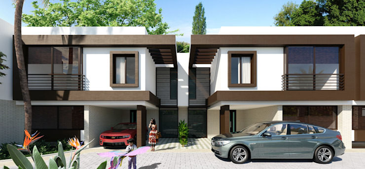 Imagen fachadas / Conjunto residencial Trapiche Houses / Ibagué - Colombia Casas modernas de Taller 3M Arquitectura & Construcción Moderno Aluminio/Cinc
