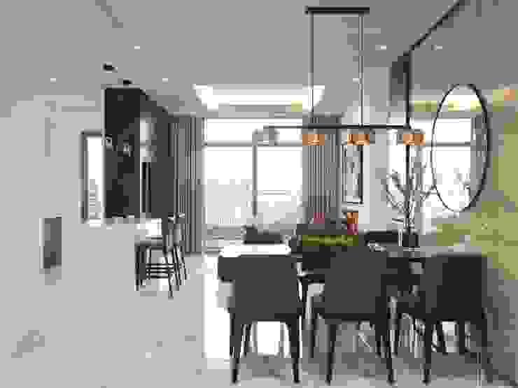 Thiết kế nội thất phong cách hiện đại tiện nghi tại căn hộ Vinhomes Central Park Phòng ăn phong cách hiện đại bởi ICON INTERIOR Hiện đại