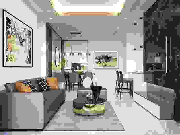 Thiết kế nội thất phong cách hiện đại tiện nghi tại căn hộ Vinhomes Central Park bởi ICON INTERIOR Hiện đại