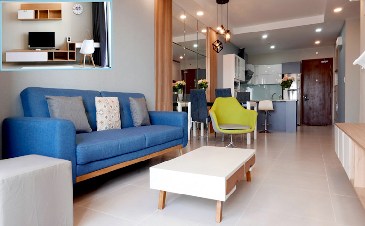Thiết kế thi công nội thất căn hộ chung cư Goldview Quận 4: hiện đại  by Công ty TNHH Nội Thất Sense Home, Hiện đại