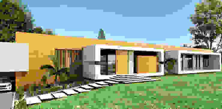 Fachada principal / Casa Conjunto residencial Las Victorias / Ibagué - Colombia de Taller 3M Arquitectura & Construcción Minimalista Madera Acabado en madera
