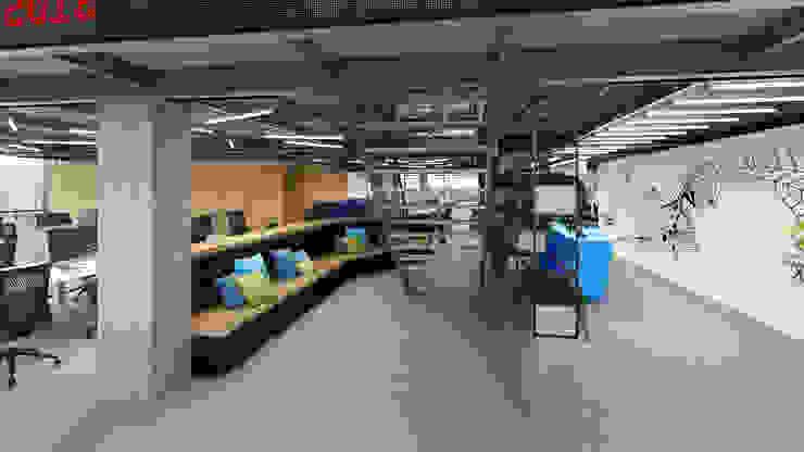 Área de descanso de agência de publicidade Espaços comerciais ecléticos por C2HA Arquitetos Eclético