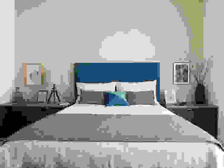 Quarto Azul e Cinza Quartos modernos por MUDA Home Design Moderno