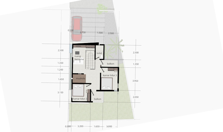 Denah lantai 2 Oleh Tigha Atelier