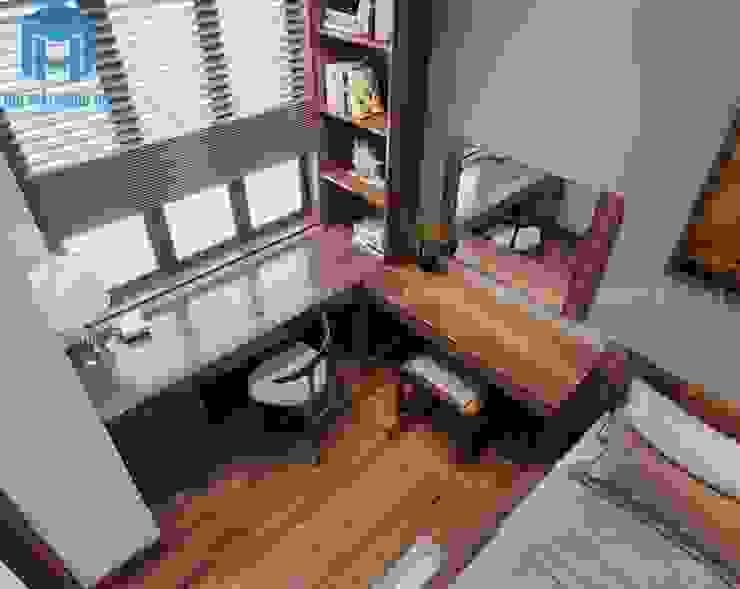 Bàn làm việc được thiết kế gắn liền với bàn trang điểm trong không gian phòng ngủ Phòng ngủ phong cách hiện đại bởi Công ty TNHH Nội Thất Mạnh Hệ Hiện đại