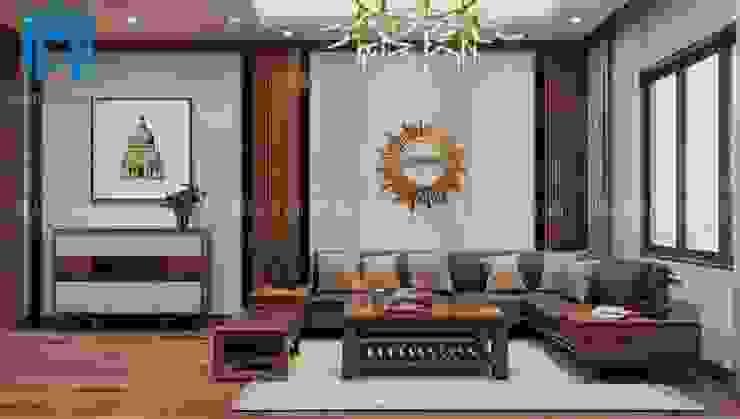 Bộ ghế sofa hình chữ L được làm bằng gỗ tự nhiên cao cấp bởi Công ty TNHH Nội Thất Mạnh Hệ Hiện đại