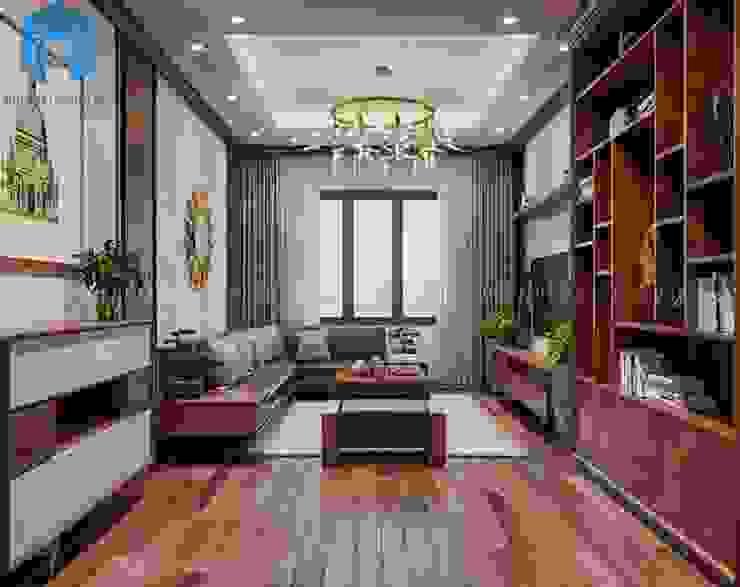 Nội thất phòng khách nhìn từ cửa vào trong khá sang trọng và đẳng cấp bởi Công ty TNHH Nội Thất Mạnh Hệ Hiện đại