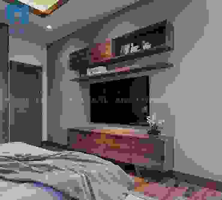 Phòng ngủ được trang bị thêm bộ tủ tivi hình chữ nhật khá đơn giản và gọn nhẹ Phòng ngủ phong cách hiện đại bởi Công ty TNHH Nội Thất Mạnh Hệ Hiện đại