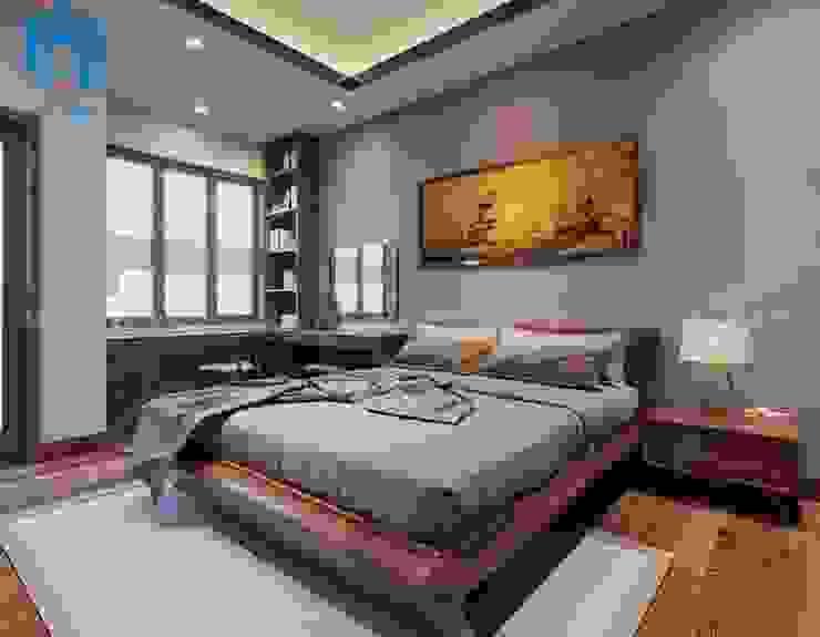 Phòng ngủ đơn giản với chiếc giường gỗ tự nhiên cùng bộ chăn ga gối nệm màu xám ghi Phòng ngủ phong cách hiện đại bởi Công ty TNHH Nội Thất Mạnh Hệ Hiện đại
