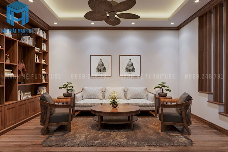 Bộ bàn ghế sofa phòng đọc sách sang trọng bởi Công ty TNHH Nội Thất Mạnh Hệ Hiện đại
