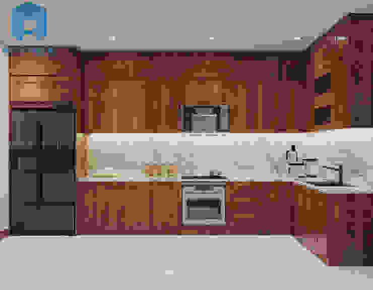 Nội thất phòng bếp với hệ thống tủ bếp hình chữ L Phòng ăn phong cách hiện đại bởi Công ty TNHH Nội Thất Mạnh Hệ Hiện đại