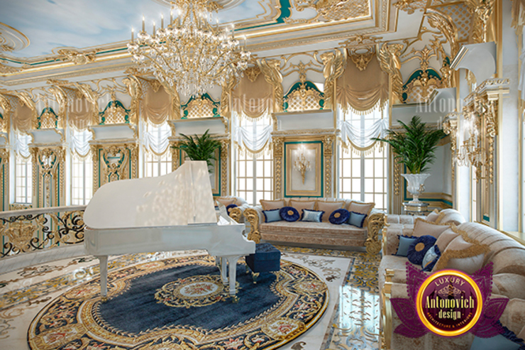 Beautiful Detailed Living Room Design by Luxury Antonovich Design