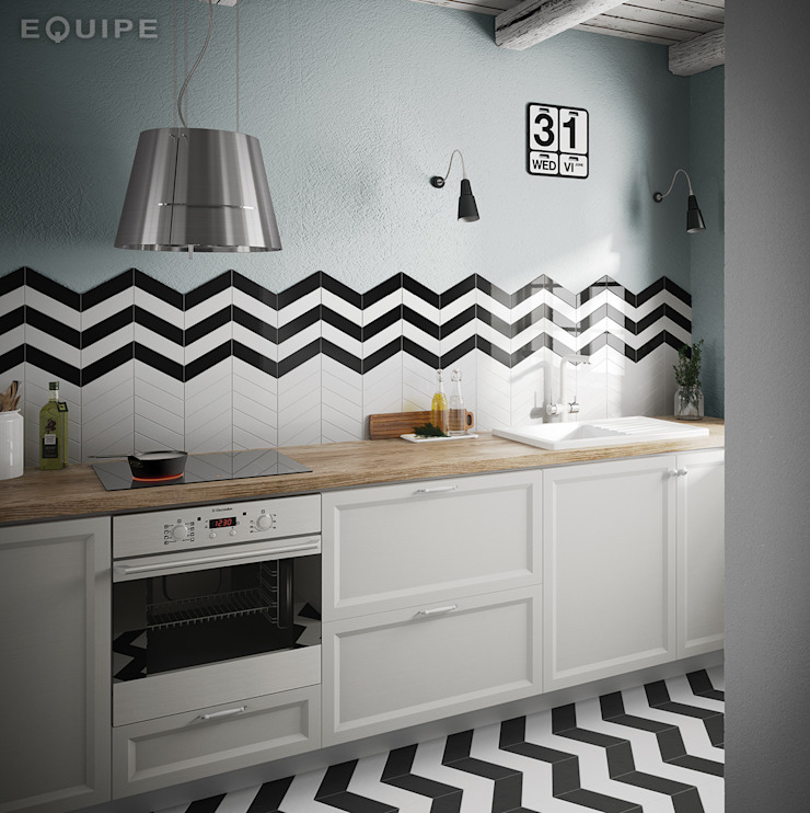 Equipe Ceramicas Modern kitchen Tiles White