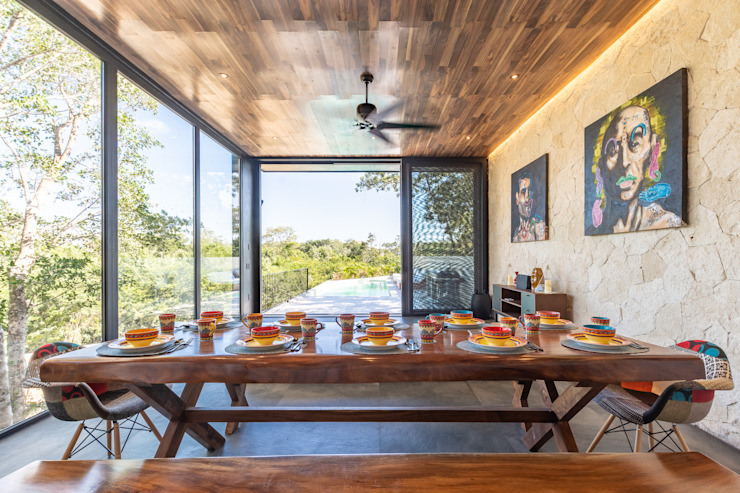 Tropical style dining room by Obed Clemente Arquitectos Tropical Wood Wood effect
