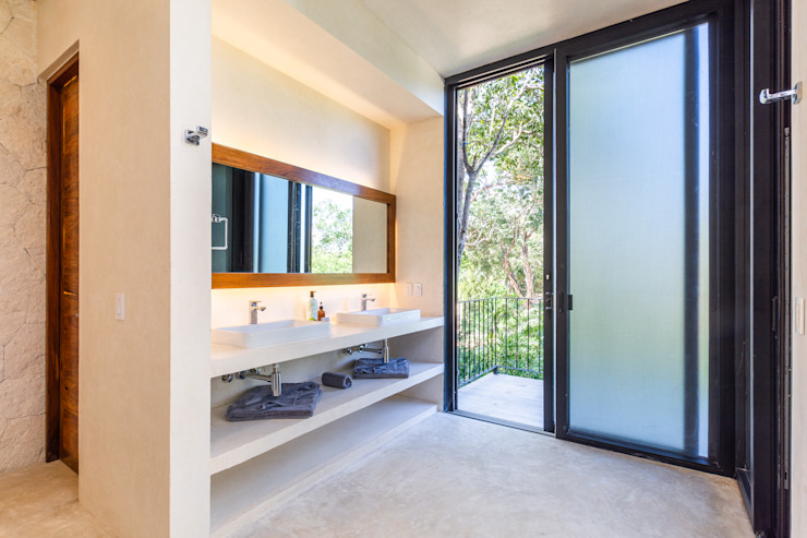 Tropical style bathroom by Obed Clemente Arquitectos Tropical Concrete