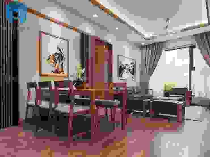 Bộ bàn ghế phòng ăn được đặt nối liền với bộ ghế sofa phòng khách bởi Công ty TNHH Nội Thất Mạnh Hệ Hiện đại