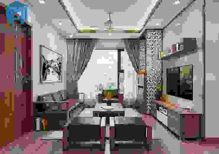 Tổng thể không gian phòng khách khá thoáng đãng bởi Công ty TNHH Nội Thất Mạnh Hệ Hiện đại