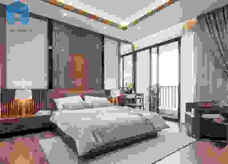 Phòng ngủ master có ban công khá lớn và thoáng đãng Phòng ngủ phong cách hiện đại bởi Công ty TNHH Nội Thất Mạnh Hệ Hiện đại