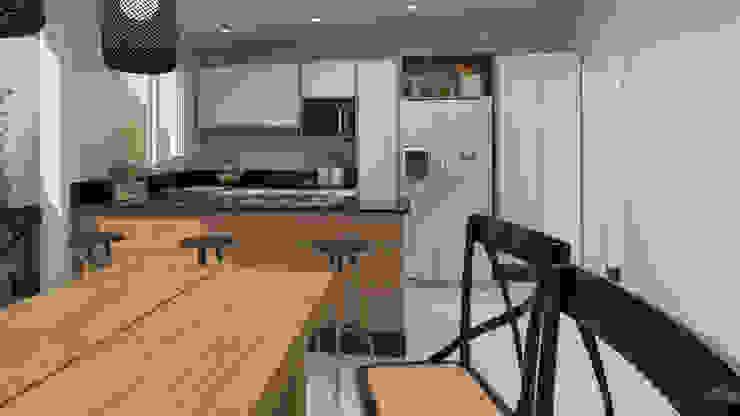 Studio MP Interiores Małe kuchnie Drewno O efekcie drewna