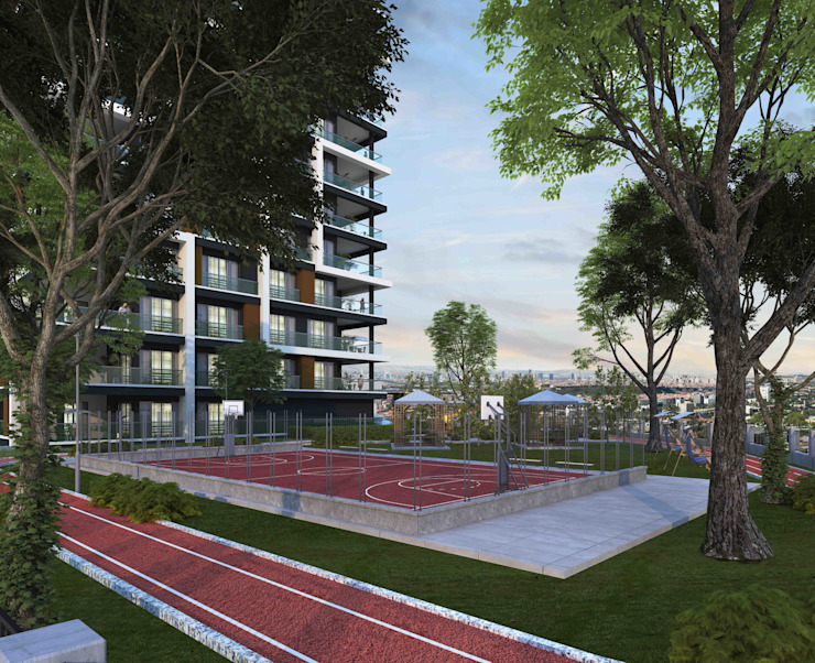 Peyzaj'dan daha fazlası Mimayris Proje ve Yapı Ltd. Şti. Ön avlu Kauçuk Yeşil