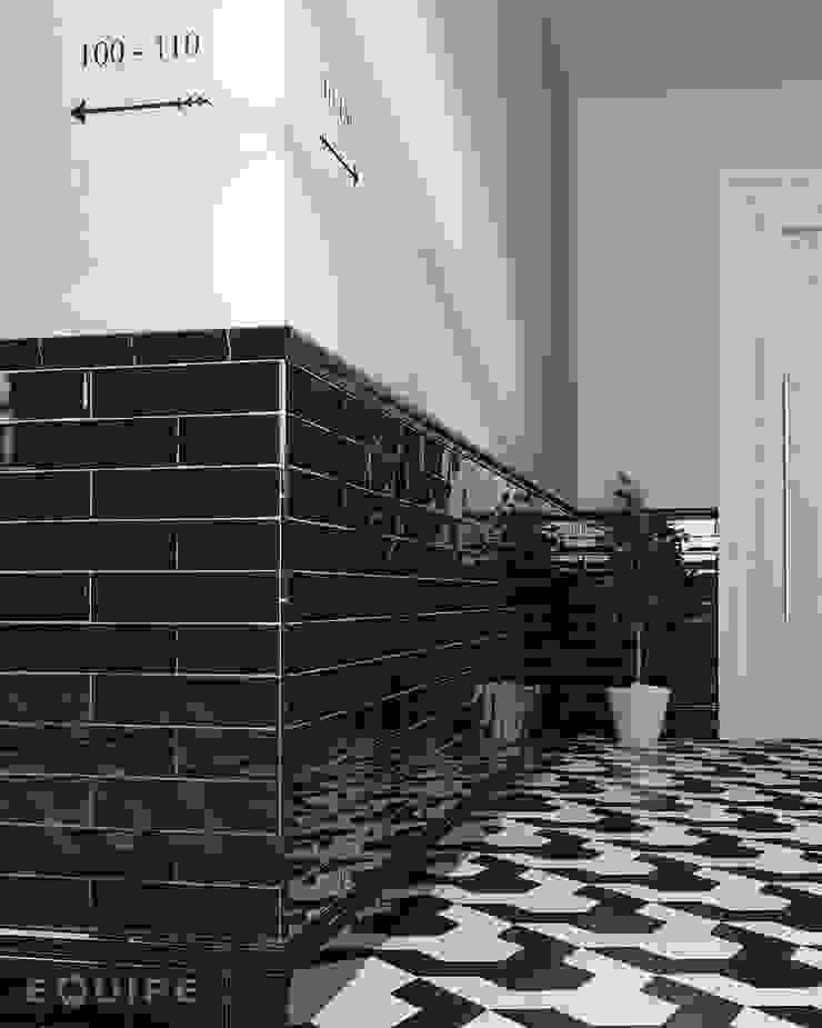 Masía Equipe Ceramicas Pasillos, vestíbulos y escaleras de estilo ecléctico Azulejos Negro