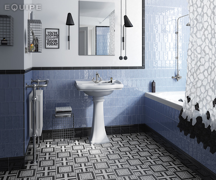 Masía Equipe Ceramicas Baños de estilo mediterráneo Azulejos Azul