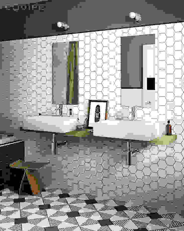 Scale Hexagon Baños de estilo moderno de Equipe Ceramicas Moderno Cerámico
