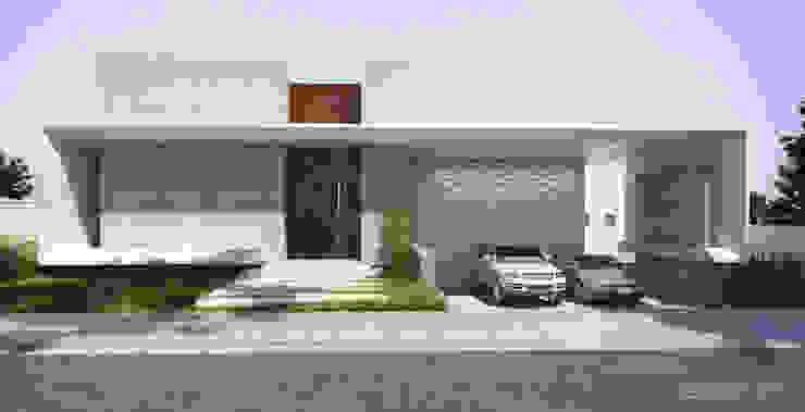 Projeto fachada da casa moderna Gelker Ribeiro Arquitetura | Arquiteto Rio de Janeiro Condomínios Concreto Branco