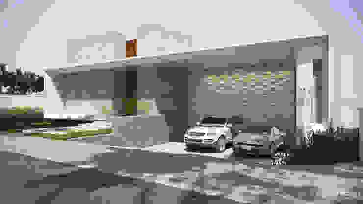 Fachada modernista com garagem embutida Gelker Ribeiro Arquitetura | Arquiteto Rio de Janeiro Condomínios Concreto Branco