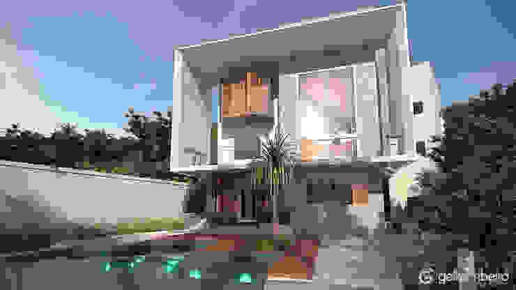 Fachada interna e área de lazer com piscina fundo infinito Gelker Ribeiro Arquitetura | Arquiteto Rio de Janeiro Casas modernas Concreto Branco