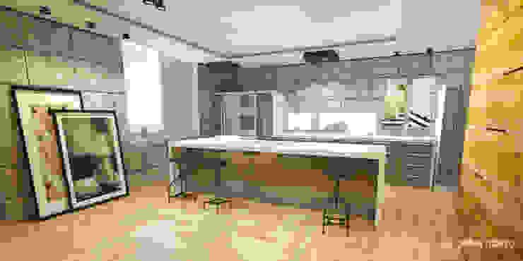 Cozinha em concreto simples e objetiva Gelker Ribeiro Arquitetura | Arquiteto Rio de Janeiro Armários e bancadas de cozinha Ferro/Aço Cinza