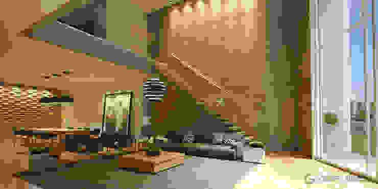 Sala Pé direito duplo, parede de concreto com escada engastada, iluminação Gelker Ribeiro Arquitetura | Arquiteto Rio de Janeiro Paredes e pisos modernos Concreto Cinza