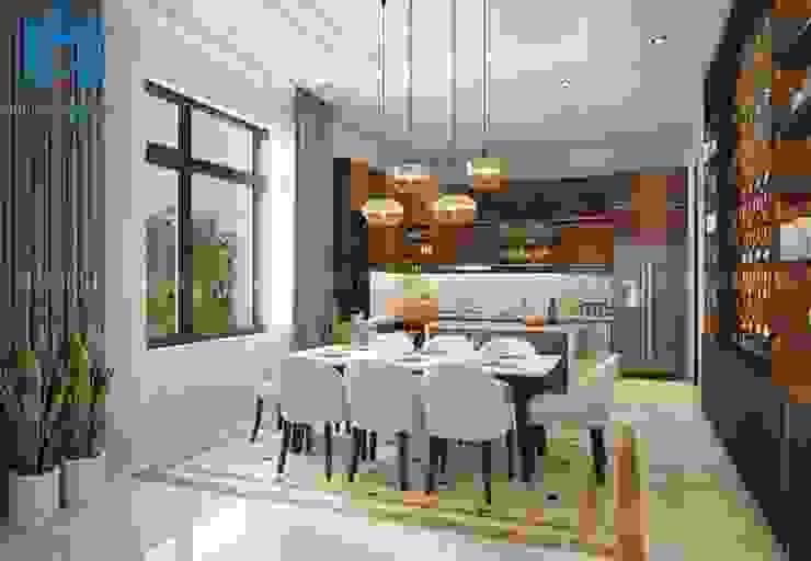 Bộ bàn ghế ăn phòng bếp màu trắng tinh tế Phòng ăn phong cách hiện đại bởi Công ty TNHH Nội Thất Mạnh Hệ Hiện đại