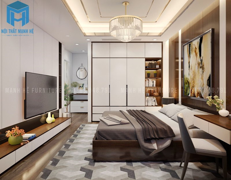Phòng ngủ nhỏ được trang bị các vật dụng nội thất khá ít nhưng vẫn đem đến 1 không gian hoàn hảo cho gia chủ bởi Công ty TNHH Nội Thất Mạnh Hệ Hiện đại