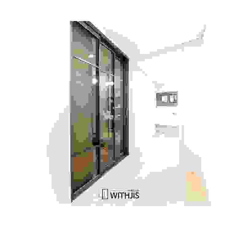 ALU-SD, 2SD-1FIX, Narrow Width Telescopic sliding door (슬라이딩 도어2+ 고정창1, 연동형) 모던스타일 복도, 현관 & 계단 by WITHJIS(위드지스) 모던 알루미늄 / 아연