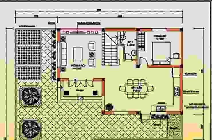 Bản vẽ thiết kế biệt thự 2 tầng 100m2 phong cách mái Thái bởi Kiến Trúc Xây Dựng Incocons
