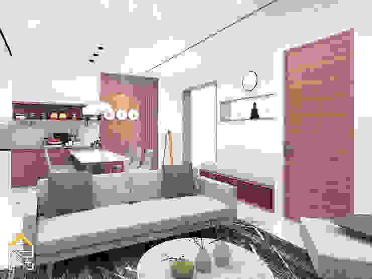 Salas de estar escandinavas por JRY Atelier Escandinavo Madeira Acabamento em madeira